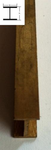 5,5mm x 5,5mm x 1000mm H-Profil Messing